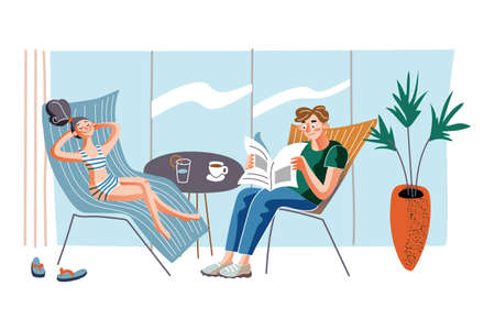 People on recliners flat vector illustration. Couple chilling in chaise longues at home cartoon characters. Smiling man and woman resting with coffee and cocktail. Relax, rest, leisure time