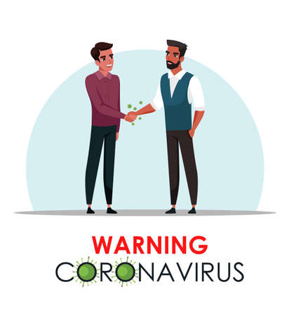 Vector Illustration warning coronavirus scene. Men shaking hands. Infection virus through handshake. Ways of spread disease, violation quarantine rules, dangerous actions, preventive protection method