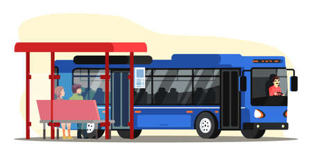 Vector character illustration of people on bus station. Man and woman sitting at stop and waiting for public transport. Driver and passengers, city blue big bus. Citizen, urban infrastructure concept Vector Illustration