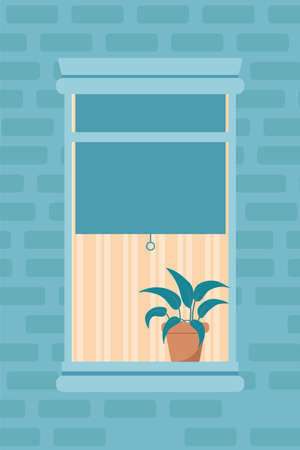Apartment window outdoor view flat illustration. Residential building exterior, brick wall. Neighbour window half opened with textile jalousies. Cartoon houseplant on windowsill composition