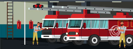 Fire department station flat vector illustration. Fireman in professional uniform male characters. Emergency service building interior. Rescuer, firefighter trucks indoor composition