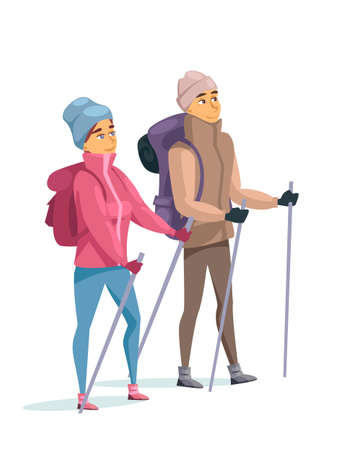 Married couple on winter vacation in mountains, man and woman in warm clothes with walkers sticks standing isolated on white backdrop. Touristic trekking in highlands. Vector flat cartoon illustration Vecteurs