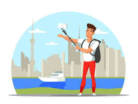 Cartoon man traveler character creating content for travel blog or vlog. Guy with backpack shooting video or taking selfie with landmarks, attractions, beautiful places. Vector flat Illustration