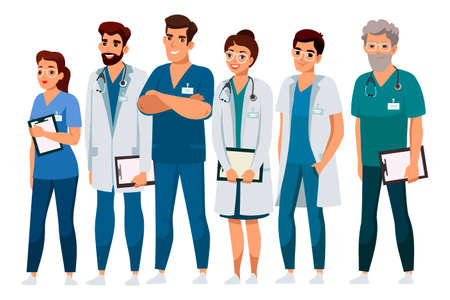 Friendly smiling professional medical staff. Doctor, assistant, nurse hospital team presentation. Man woman people character in uniform standing isolated on white background. Medicine and healthcare Vettoriali