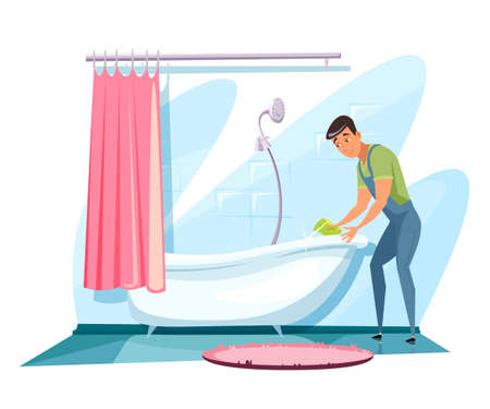 Man washing bathtub flat vector illustration. Smiling young man, sanitary service worker cartoon character. Guy in overalls holding sponge, cleaning bathroom. Domestic chores, housekeeping