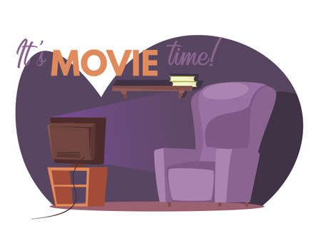 Its movie time vector banner template. Empty room with tv vector illustration with typography. Home leisure isolated on white background. Living room interior design. Evening entertainment concept
