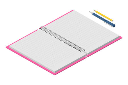 Opened notebook with empty lined pages, pen and pencils. Office items for notifications. Stationary and accessories for working. Vector cartoon flat illustration isolated on white background