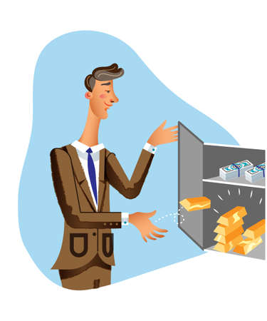 Rich businessman flat vector illustration. Successful man in suit putting gold bars in safebox cartoon character. Chief executive storing money in bank vault isolated clipart. Earnings storage