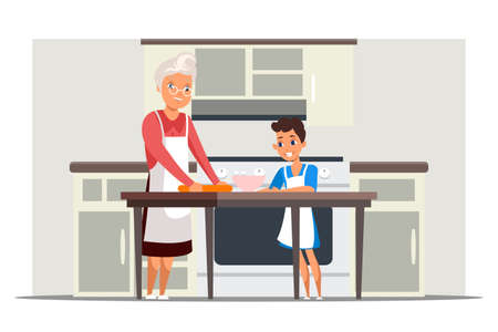 Happy grandma and granddaughter cooking together. Kitchen interior with utensils on table. Grandmother and grandchild kneading dough, baking pie with berries. Family relationship. Vector illustration Ilustración de vector