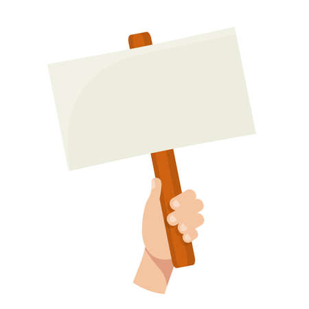 Hand holding blank banner flat vector illustration. Empty protest sign on wood stick isolated clipart on white background. Protester on strike. Demonstration and opposition picket. Social activity