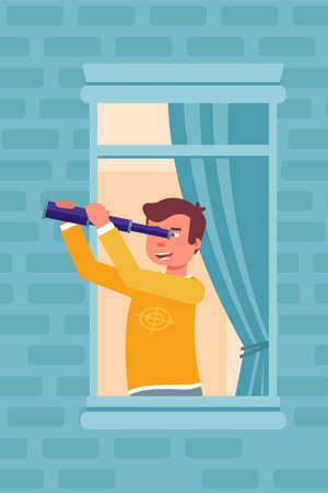 Man looking through telescope in window illustration isolated on blue background