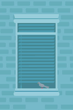 Apartment window outdoor flat vector illustration