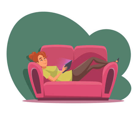 Young girl watching movie flat vector illustration Ilustração