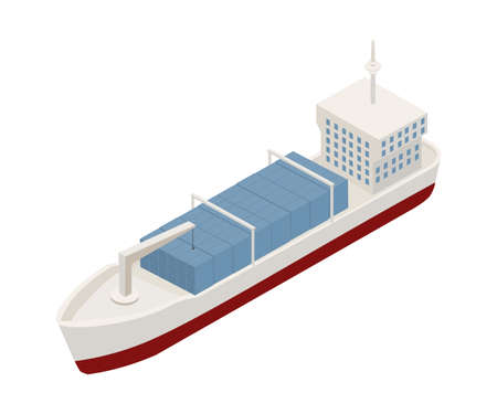 Cargo ship isometric vector illustration. Commercial carrier clip art isolated on white background. Freighter color 3D drawing. Contemporary watercraft icon. Shipping and logistics