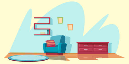 Living room furnishing flat vector illustration Ilustração