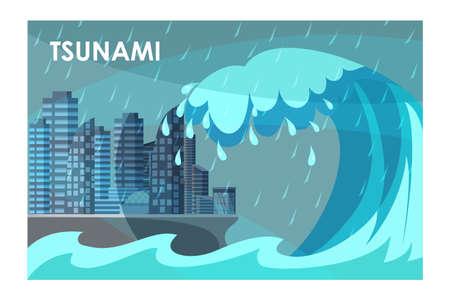 Tsunami covering city buildings flat illustration