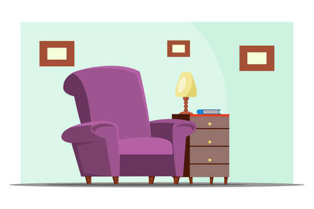 Living room furnishing flat vector illustration. Cabinet with armchair and wooden drawers chest. Bedroom interior design with frames on blue wall. Waiting room furniture.  Apartment decor