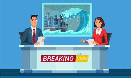 Live breaking news flat illustration. TV studio interior vector illustration. Television news program presenters cartoon characters. Disaster, catastrophe tidings. Broadcast announcing