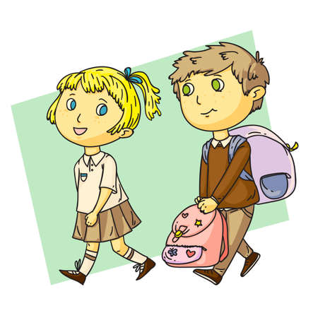 Funny boy helps cute girl with heavy school bag. Children characters on green backdrop. Cartoon isolated on white. Classmates pupils friendship and relationships. Good behavior. Vector illustration Illustration