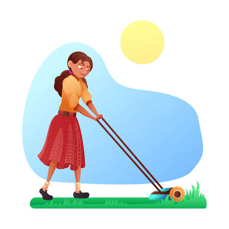 Cartoon friendly smiling young woman mowing grass with lawn mower on yard or in park. Gardening and landscape design. Female gardener working with garden equipment. Vector flat cutout illustration