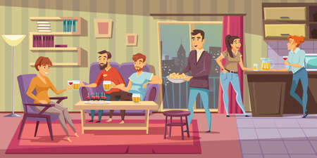 Home party flat vector illustration. Friends at house party. People relaxing in apartment living room composition. Male and female characters drinking alcohol beverages and eating snacks