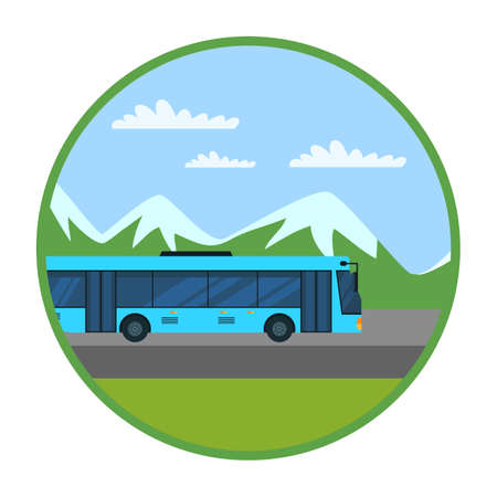 Intercity bus flat vector illustration. Interurban public transport. Mountain landscape in green circle frame isolated on white background. Passenger autobus, shuttle bus. Convenient service Illustration