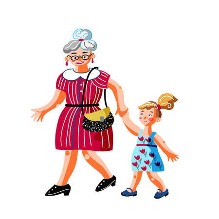 Grandmother with child isolated flat vector characters. Older woman with little girl cartoon illustration. Grandma with granddaughter holding hands. Happy retired lady and grandchild together Illustration