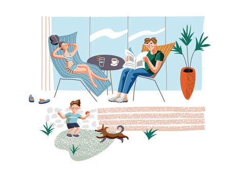 Rest at home flat vector illustration. Parents and child in courtyard cartoon characters. Sunbathing woman, man reading newspaper, little boy playing with dog. Family leisure, summertime relax concept