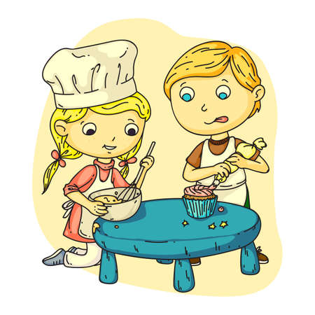 Happy girl and boy cooking together flat cartoon Vectores