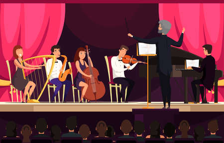 Orchestra performance on stage vector illustration. Concert in hall, cultural event concept. Musical band members and spectators cartoon characters. Classical music, symphony playing
