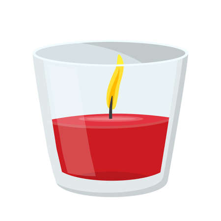 Flame burning fire light aroma red wax candle in transparent glass jar holder. Modern vitreous candlestick for celebration, ceremony decoration. Vector flat cartoon illustration isolated on white