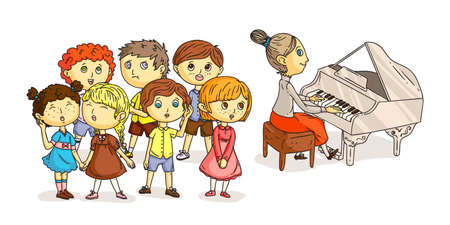 Children chorus performance under piano accompaniment isolated on white. Pianist music. Kids choral singing. Woman playing musical instrument. Boys girls performing with song. Vector flat illustration