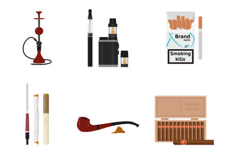Smoking accessories and tobacco products flat set