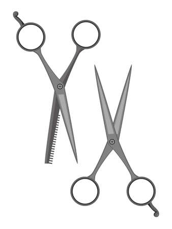 Classic scissors flat set items. Sharp and thinning shears Cartoon barber shop accessories. Professional hairdresser tools kit. Haircut and hairstyling. Vector illustration isolated on white