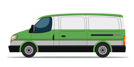 Cash collection bank car van isolated on white. Banking, currency transportation. Money payment and valuables delivery vehicle. Defensive and private organization. Vector cartoon flat illustration