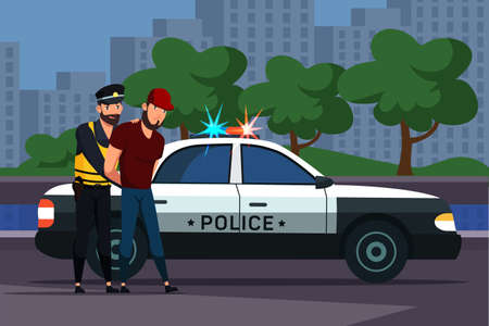 Police officer man character arrest male criminal. Lawbreaker in handcuffs and policeman stand near car with flashing lights against city buildings. Evening road. Vector flat cartoon illustration