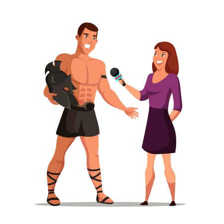 Woman reporter interviewing romans warrior actor Vectores