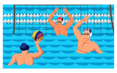 Players sportsmen team athlete characters enjoying water polo game cartoon. Match sporting competition event. Pool, net, ball, sportive people in rubber hats. Vector cartoon flat illustration