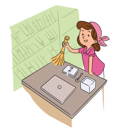 Cute little girl helper dusting off cleaning table