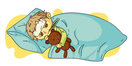 Little sick boy with fever lying in bed under blanket. Child hugging teddy bear holding thermometer in mouth and feel bad. Influenza and flu. Kid feeling unhealthy and unwell. Vector illustration Vettoriali