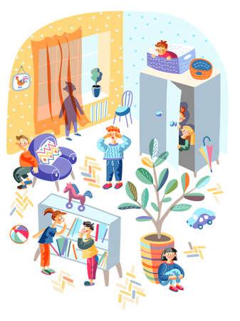 Hide-and-sick children funny game in kindergarten Vektorgrafik
