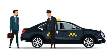 Businessman wearing formal suit holding suitcase gets in business taxi-cab. Taxi service. Delivering working people to destination place. Vector illustration. Vecteurs