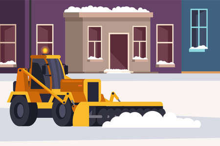 Snow removal street and road process. Winter highway service. Bulldozer professional cleaning vehicle with conveyor belt, snow blower. Vector snowy cityscape illustration