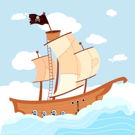 Cartoon pirate ship with black flag sailing in sea