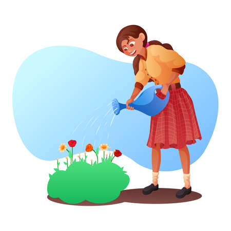 Happy smiling woman watering blooming flowers
