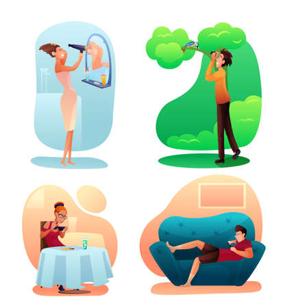 People hobbies color illustrations set