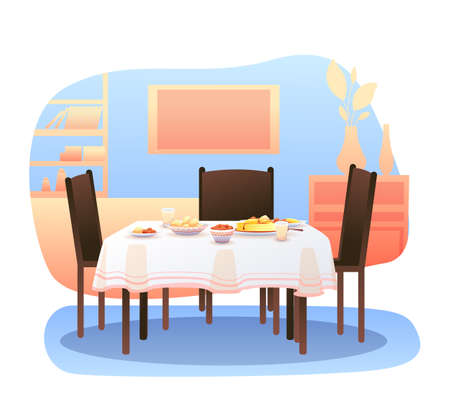 Cartoon home living room with served dining table