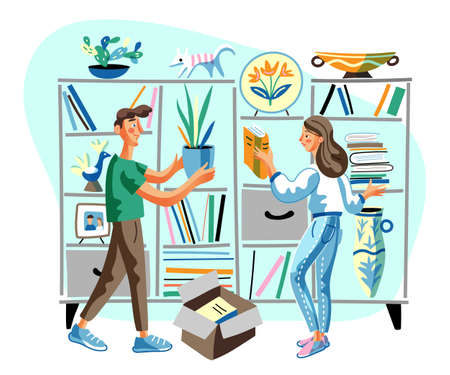 Bookshelf decorating flat vector illustration. Boyfriend and girlfriend cartoon characters putting houseplant and book in living room shelf. Man and woman couple moving in new apartment.