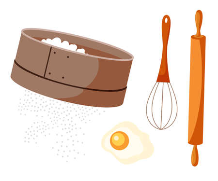 Pastry making tools flat vector illustrations set