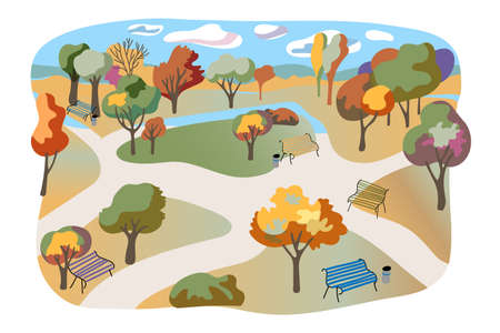 Autumn city park flat illustration. Hand drawn parkland isolated on white background. Town garden, recreational area, rest place. Comfortable benches, multicolor leaf trees, nature view Ilustracja